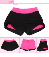 Wholesale Professional fitness Women shorts yoga pants breathable wicking liner elastic Colors Running Shorts Lined pants anti emptied