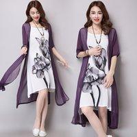 achat en gros de xxl robes china-Femmes robe d'été nouveau coton et lin de style Chine longueur moyenne encre vintage impression robe Faux Vêtements en deux parties