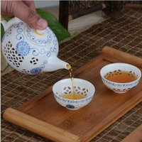 Wholesale New Arrivals Exquisite Tea Service Ceramic Tea Sets Handpainted Kitchen Dining Bar TeaCup ChineseTravel Tea Set TeaPot SALE
