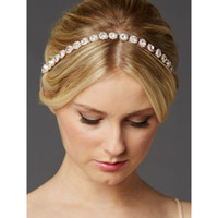 Wholesale Crystal Bridal Headband with A Glass Crystals and Ivory Ribbon Wedding Bridal Hair Accessory New Style