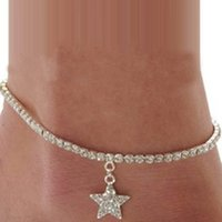 ankle cuff sandals - Briloom Star Rhinestone Anklet Foot Sandal Beach Wedding Jewelry Ankle Bracelet