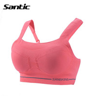 Wholesale Santic Full Cup Wire Free Seamless Women Sports Bra Padded Quick dry Cycling Bra Breathable Running Riding Bra MN15007H