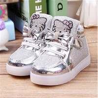air diamond shoes - Fashion light leather children shoes cartoon flash diamond girl single boots shoes