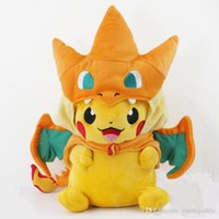Wholesale 2 styles Pikachu Cosplay Charmander Plush Toys Cute pocket monster Plush Stuffed Animals Soft Toys Fashion Plush Doll
