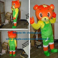 bandit s - Babyish Orange Bandit Bear Teddy Bear Mascot Costume Cartoon Character Mascotte Adult Yellow T shirt Green Shoes ZZ556 Free Ship