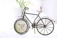 antique clock stores - 2016 Hot Sale New Arrival Iron Antique Imitation Old Bicylce Clock European Style Original Design Clock Home and House Coffee Store Decor