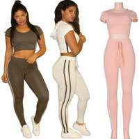 Wholesale Women Summer Jumpsuit Fashion Sexy Ladies Women Solid Short Sleeve Crop Top High Waist Pants Two Piece Playsuits Sets Casual Tracksuits