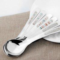 Wholesale Long Handle Stainless Steel Spoons Korean Laser Engraving Pattern Tableware Soup Ice Cream Tea Coffee Dessert Kitchen Tools