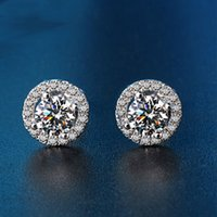 Wholesale Diamond Round Brilliant Earrings Jewelry Womens Fashion Platinum Handmade Jewelry