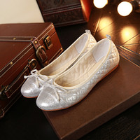 Men beading eggs - Egg roll shoes full leather women shoe shoes flat with the leather round Bow Shoes