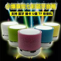 Wholesale 2016 hotsale Mini portable crackle texture Bluetooth Speaker with LED light can Support TF Card USB Flash Drive FM with retail box