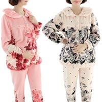Wholesale Retail Autumn Winter Flannel Maternity Pajama Set Floral Feeding Clothes Long Sleeve Leisurewear Nursing Feeding Clothes RB0057