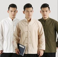 Wholesale Cheap long sleeved Spring Autumn Chinese Mens Tang costumes suits Man Shirt Tai Chi Kung Fu Long sleeved Silk cotton jackets