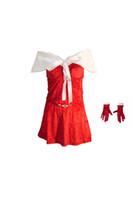 Wholesale Xmas One Piece New Christmas Sexy Lingerie Outfit Uniform Red Velvet White decoration Shawl Faux Fur Cape Set JIAOLUN