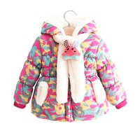 Wholesale 2016 new winter baby child outerwear coats fashion rabbit T little girls parkas warm hoodies jackets for baby girls