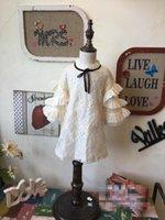 bell western - New Kids Girls Lace Embroidery Ruffles Dress Fall Winter Dress Bell Sleeve Beige Color Party Dress Western Princess Dress