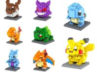 Wholesale 8 style Poke Go blocks Figure Minifigure Building Blocks DIY Pikachu Squirtle Model Toys Miniature childrenToys Christmas Gifts