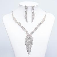 asian wedding jewellery - Cheap Jewelry Crystal Rhinestones Bride Prom Wedding Jewellery Sets Necklace Drop Earrings Bridal Accessories