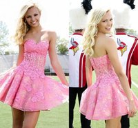 Daily Wear baby pink homecoming dress - 2017 New Gorgeous Baby Pink Homecoming Dresses Strapless Lace Mini Graduation Dresses with Applique Exposed Boning Short Prom Dresses