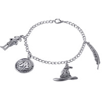 Wholesale hot new movie jewelry zinc alloy vintage silver harry dobby Sorting hat Feather Charms potter bracelets for women and men zj