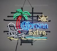 bar chairs white - Corona Extra Beach Chair Palm Tree Handcrafted Neon Light Sign Display Advertisement Real Glass Tube Club Hotel Motel Neon Signs quot X15 quot
