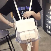 Wholesale girls fashional bag white and black solf convenient UP backpacks cheap