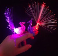 animal shapes peacock - LED Peacock Finger Lamp Flash Night Flashing Ring Creative Kids Finger Toys Funny Animal Shaped Colorful Light QQA331