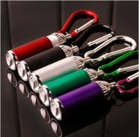 Wholesale Portable Mini LED Flashlight Keychain Aluminum Alloy Torch with Carabiner Ring Key rings LED mini Flashlight Mini light