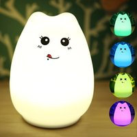 adult baby nursery - New Colorful Silicone Soft USB Rechargeable Animal Night Light Cute Cat Table Lamp Adults Children Baby Bedroom LED Light Nursery Night Lamp