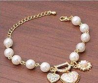 Cheap Diamond Flower Pendant Pearl beaded Bracelet Heart Letter D Alloy Charm Golden Chain Bracelet Jewelry Gifts