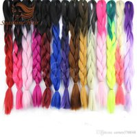 Wholesale 24inch g Kanekalon synthetic Indian human hair ombre color hair jumbo braid hair extensions more colors