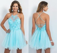 Wholesale halter graduation dresses applique sexy lace up back mini prom dress a line tulle party gowns