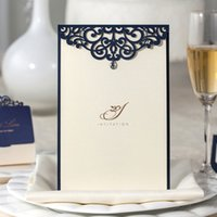 baby shower invitation kit - Laser Cut Wedding Invitations Kits Navy Blue Lace Floral Birthday Paper Cardstock Engagement Marriage Bride Baby Shower Party Invites CM502