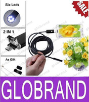 Wholesale 2 in Android Smartphone Endoscope USB Inspection Camera Waterproof Wire Borescope M mm Colors GLO739