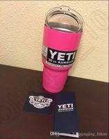 Wholesale Pink oz YETI Tumbler Rambler Cups with LOGO Cooler Stainless Steel Yeti Sports Mugs Large Capacity Stainless Steel Travel Mug OOA430