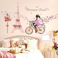 bathroom towers - Flower Fairy Bicycle Butterfly Flower Tower Wall Sticker Girls Room Kids Nursery Wall Decals Home Decorations