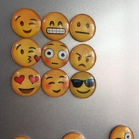 Wholesale DHL Free Newest QQ Expression Emoji Fridge Magnet Cute Cartoon Fashion Crystal Glass Fridge Magnets Funny Refrigerator Toy