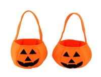 Wholesale Halloween Pumpkin Candy Bags Cute Children halloween Gift candy bag Handhold Pouch Tote Bag Non woven Pail Props Decoration Toys