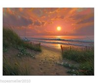 Wholesale Sunrise Wall Art Home Decor - Breeze with sunrise,Modern Seascape Art oil painting,Home Wall Decor On High Quality Canvas in custom sizes