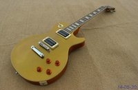 Wholesale New brand electric guitar with blakc open pole pickups in gold top no pickguard