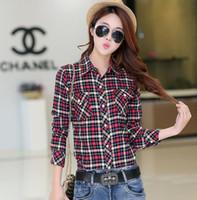Wholesale Fashion Women Plaid Shirt Flannel Shirt Long Sleeve Women Blouses Shirt Women Cotton Blusas Tops Blouse