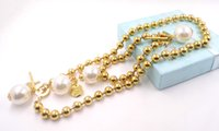 Wholesale Hot korean Style Stainless Steel Pearl Jewelry Set Nice Gift Fashion k Gold CrossJewelry Necklace Bracelet And Earrings
