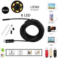 al por mayor tubo de audio led-Lente de 8mm 2 en 1 PC Endoscopio Android 2.0MP HD 720P USB Tubo de Boroscopio de Inspección de alambre Cameraon Video Cam 6 LED ajustable de Inspección Digital