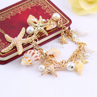 beach bars - pc High Quality Ocean Style Multi Starfish Sea Star Conch Shell Simulated Pearl Chain Beach Bracelet Bangle Novelty Hot