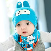 Unisex Spring / Autumn Crochet Hats Nice cartoon baby hat Girl Boy kids hat children cotton scarf collar infant hats set autumn winter baby cap
