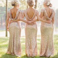 Wholesale Sparkly Champagne Gold Bridesmaid Dresses Sequin Long Formal Wedding Party Guest Dress Open Back Cap Sleeve Floor Length B2450