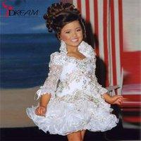Wholesale Short Flower Girl Dress Real Little Girl Gowns Sleeve Beads Crystal Rhinestone Ruffles White Glitz Pageant Dress