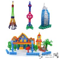 Wholesale 2016 Wooden High Quality Multicolor Kids Snowflake Building Puzzle Blocks Educational Xmas Toys Bricks Diy Assembling Classic Toy