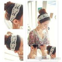 Wholesale Women Fashion Fabric Lace Wide Stretch Headband Romantic Retro Cotton Headwrap D