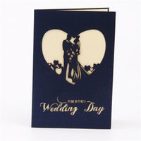 Wholesale 3D Wedding Invitation Cards Hollow out Bride and Groom Greeting Pop Up Invitation Card Creative Wedding Favor Folding Cards